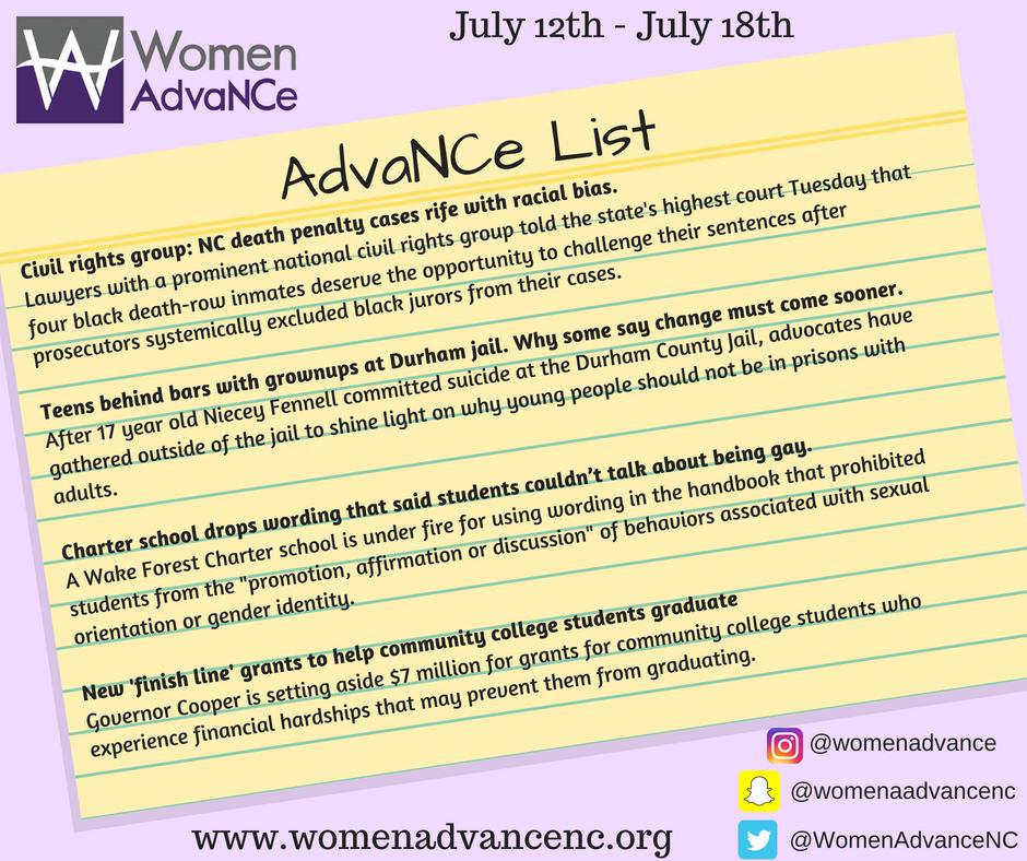 AdvaNCe List July 12-18 | Women AdvaNCe